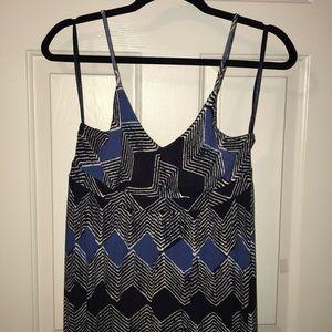Blue Patterned Loft Flowing Maxi Dress